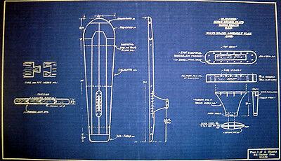 "Vintage Australian 1932 Surfboard Blueprint Plan 19""x21""  (242)"