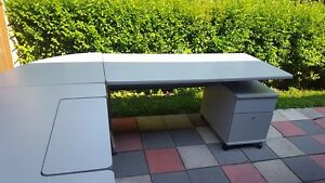 Grey L-Shaped Office desk with 2 matching Rolling Cabinets