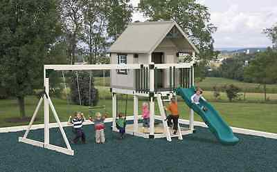 AMISH PA DUTCH HANDMADE WOODEN VINYL PVC SWINGSET PLAYGROUND EQUIPMENT SLIDE NEW on Rummage
