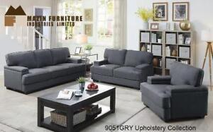 3 PC Sofa Set in Grey Fabric- Couch Sale (BD-2449)
