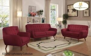 RED COUCH, LOVESEAT AND CHAIR| LEATHER COUCH SET - GREAT DEALS ON SOFAS AND COUCHES (BD-1260)