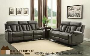 Recliner Set in Grey Leather MA10 9035GRY-1 (BD-1378)
