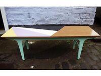 Vintage mid century painted geometric coffee table