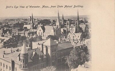 Antique POSTCARD c1907 Bird's Eye View from State Mutual WORCESTER, MA 13192