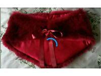 Dark red faux fur bridal prom shrug NEW size small 6-8