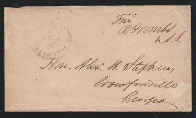 Robert Toombs A Founder of Confederacy Autograph Free Frank as Congressman 1860