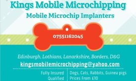 mobile microchipping dogs, cats, rabbits, ferrets, small furries, fully insured and trained,