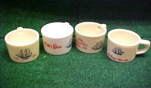 Lot (4) Vintage Shulton OLD SPICE Early & Late American Glass Shaving Mugs EXC!