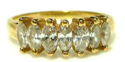 DESIGNER 14K YELLOW GOLD MARQUISE DIAMOND .75CT STACKABLE STACKING RING BAND