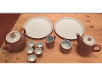 Vintage Langley Denby twintone 11 Piece brown/blue.
