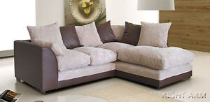 Porto Jumbo Cord Corner Group Sofa, Brown & Beige, Black & Grey, Right or Left