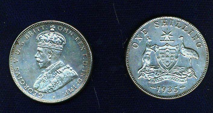 AUSTRALIA GEORGE V  1935  1 SHILLING SILVER COIN, XF/AU, GREAT!