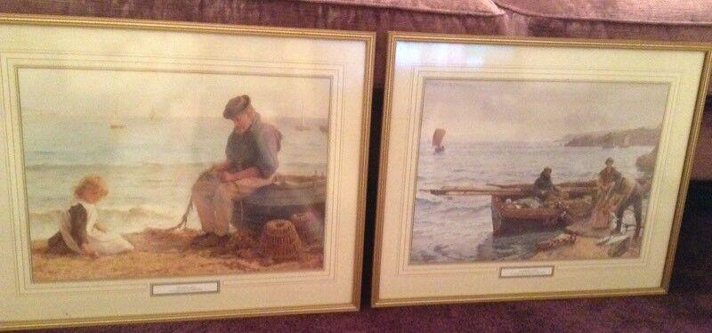 2 large framed quality framed prints crabbers net and mending nets