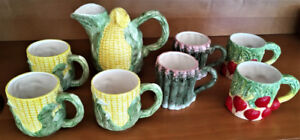 Pitcher and seven mugs