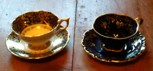 2 Exquisite Cups & Saucers With Display Holders