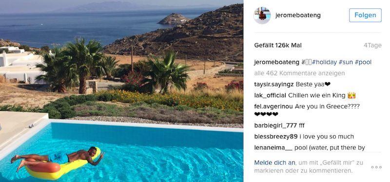 Verdient. Jérôme Boateng urlaubt auf Mykonos. Und wo erholen sich seine Kollegen? (Bild: Instagram/ @jeromeboateng)