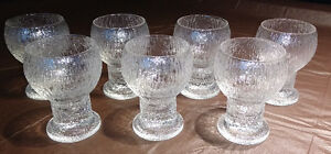 "Set of 7 1970s Iittala Crystal Kekkerit 5"" Goblets"