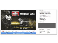 London Muller Anniversary Games Ticket Sat 23 July 2016 - GOLD Row 2