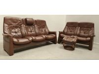 Himolla Stressless Leather 3 seat recliner sofa 2 seat Recliner & stool 1404212