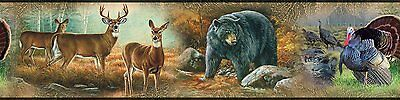 WILDLIFE MEDLEY Wall Border Decals Room Decor Wallpaper Hunting Deer Bears Woods
