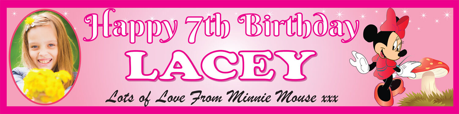 4-6ft Minnie Mouse Personalised Celebration Party Banner with your name /& photo