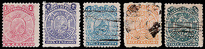 Bolivia Scott 35-39 (1893) Used/Mint H G-F Complete Set, CV $69.00