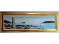Beautiful stunning original acrylic painting of the Pollachar standing stone at South Uist