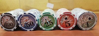 100 Numbered Laser Poker Chips 12 gram  ABS Composite Box 5 Colors