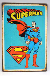 8 x 12 inch Retro Inspired Superman Tin Man Cave/Boy's Room Sign