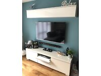Tv unit, wall unit & coffee table, matching set, white
