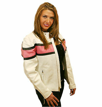 White And Pink Biker Leather Jacket