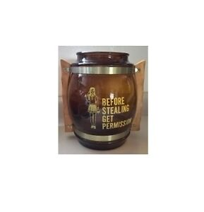 Siesta Ware Amber Glass Cookei Jar with Wooden handle