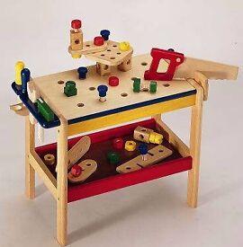 Toy wooden workbench