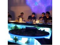 7 x LED Black Perspex Cocktail Trays luminescent battery lit edge RRP £840.00 – STUNNING FOR EVENTS!