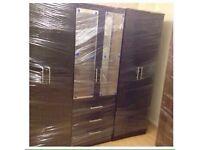 BLACK 6 DOOR WARDROBE (ready assembled)