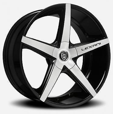 Photo 22 inch Lexani Wheels R-04 Stagger Black Rims Camaro X5 X6 Mustang Jaguar SLS