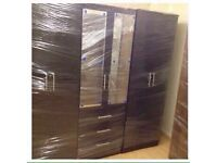 BLACK WARDROBE WITH MIRRORS (ready assembled)