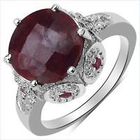 RING 14K WHITE GOLD OVER STERLING SILVER, DIAMONDS & LARGE RUBY