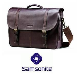 NEW* SAMSONITE BROWN MESSENGER BAG - 124918591 - LEATHER FLAP-OVER COLOMBIAN