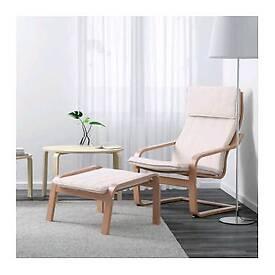 IKEA POÄNG Arm chair + footstool
