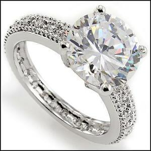 Womens White Gold Rhodium Plated Cubic Zirconia Engagement Ring