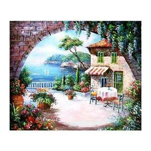 Greek Cafe - Hand Painted Oil on Canvas
