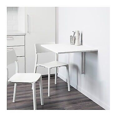 Ikea White Wall-mounted drop-leaf table NORBERG