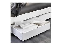 White IKEA Double bed with under bed storage