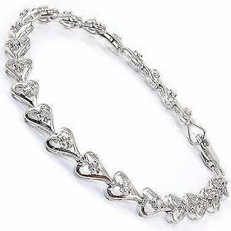 Gorgeous Womens 14K White Gold Over Solid Sterling Silver 31 Diam