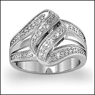 Gorgeous Diamond Scroll Ring - size 7
