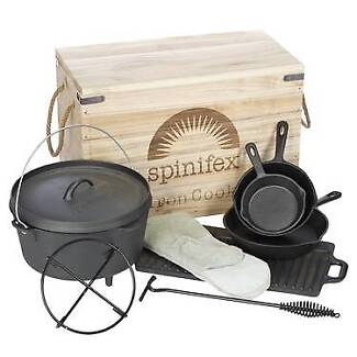 Spinifex Cast Iron Wood Crate Cook Set Black