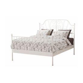 Ikea double bed frame LEIRVIK white/ivory