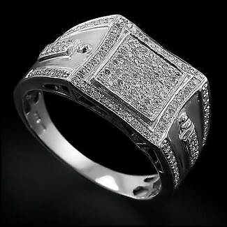 Powerful Mens 14K White Gold Over  1/2 CTW 1