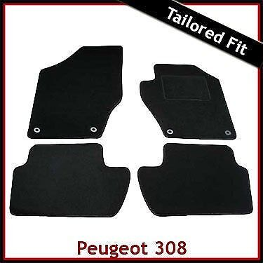 Tailored Fitted Black Car Mats and Bootmat 2007-2013 Peugeot 308